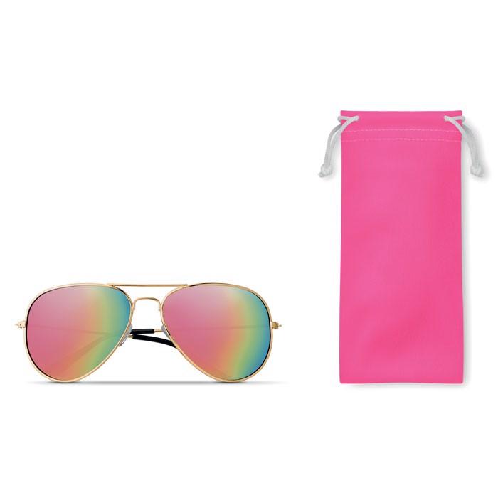 Sonnenbrille im Brillenbeutel Malibu - fuchsie