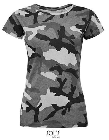 Women`S Camo T-Shirt - Grey Camo / XXL