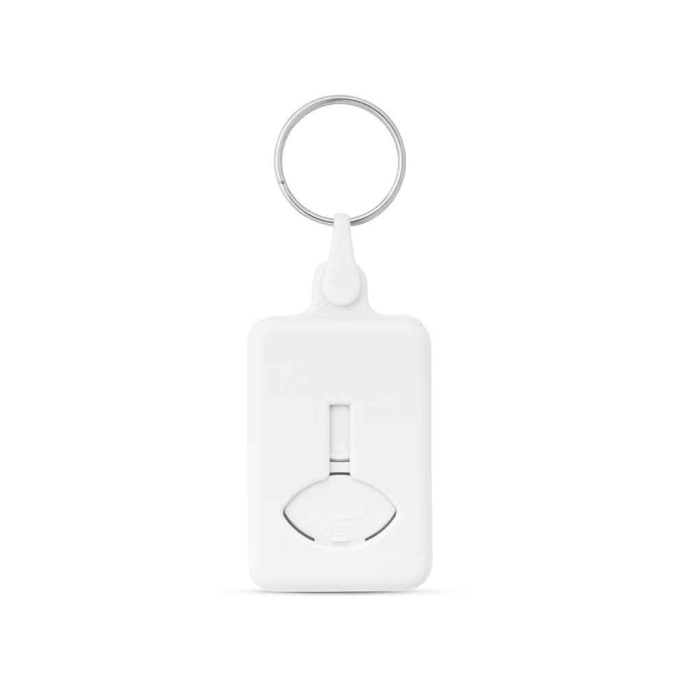 BUS. Coin-shaped keyring for supermarket trolley - White