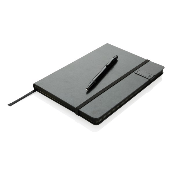 Deluxe 8GB USB notebook with stylus pen - Black / Black