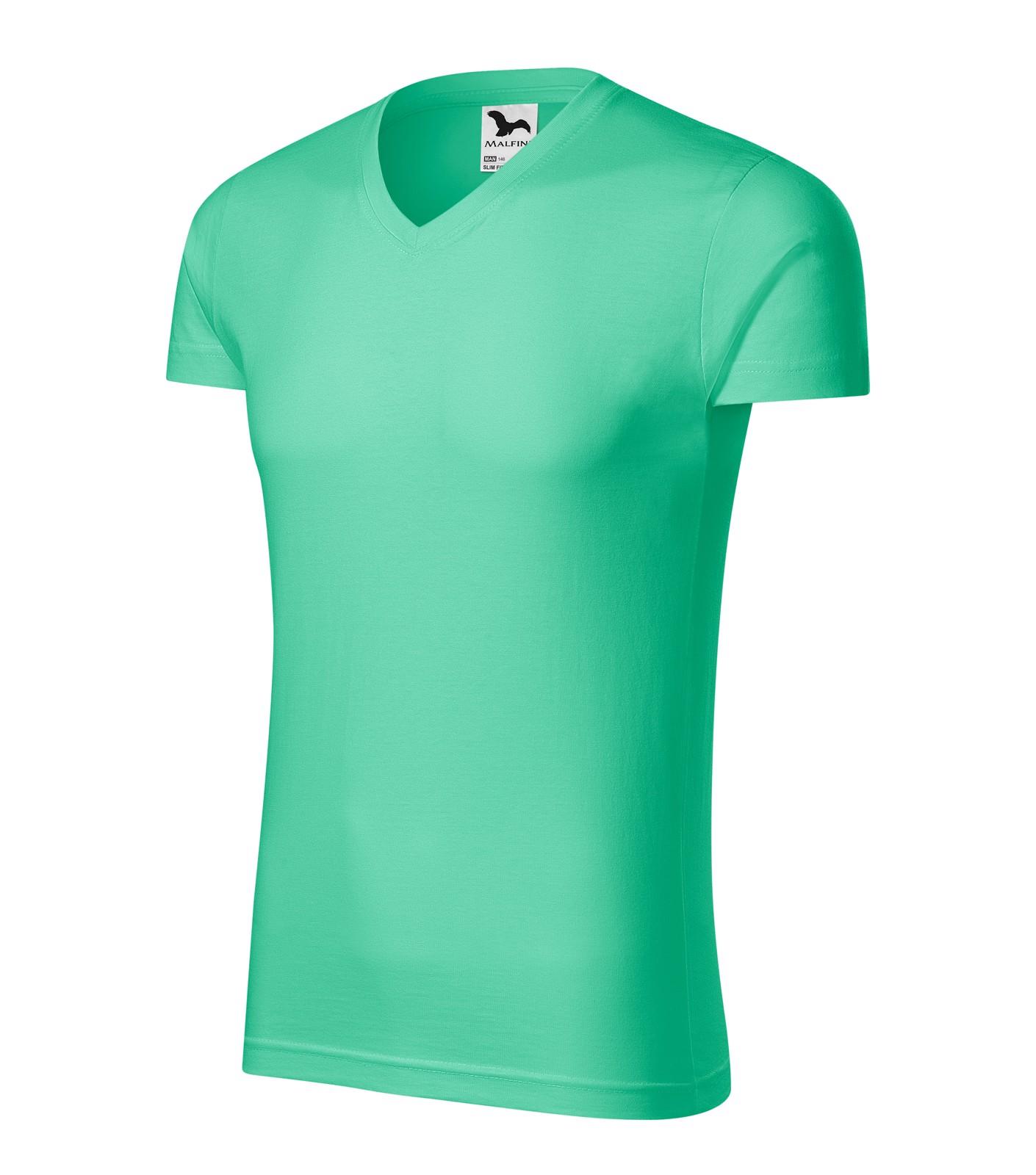 Tričko pánské Malfini Slim Fit V-neck - Mátová / S