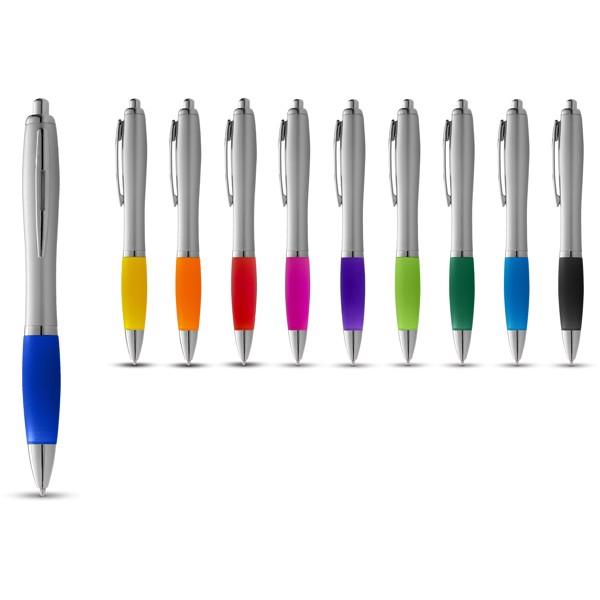 Stříbrné kuličkové pero Nash s barevným úchopem - Stříbrný / Červená s efektem námrazy