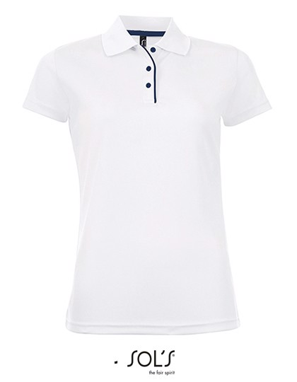 Women`S Sports Polo Shirt Performer - White / L