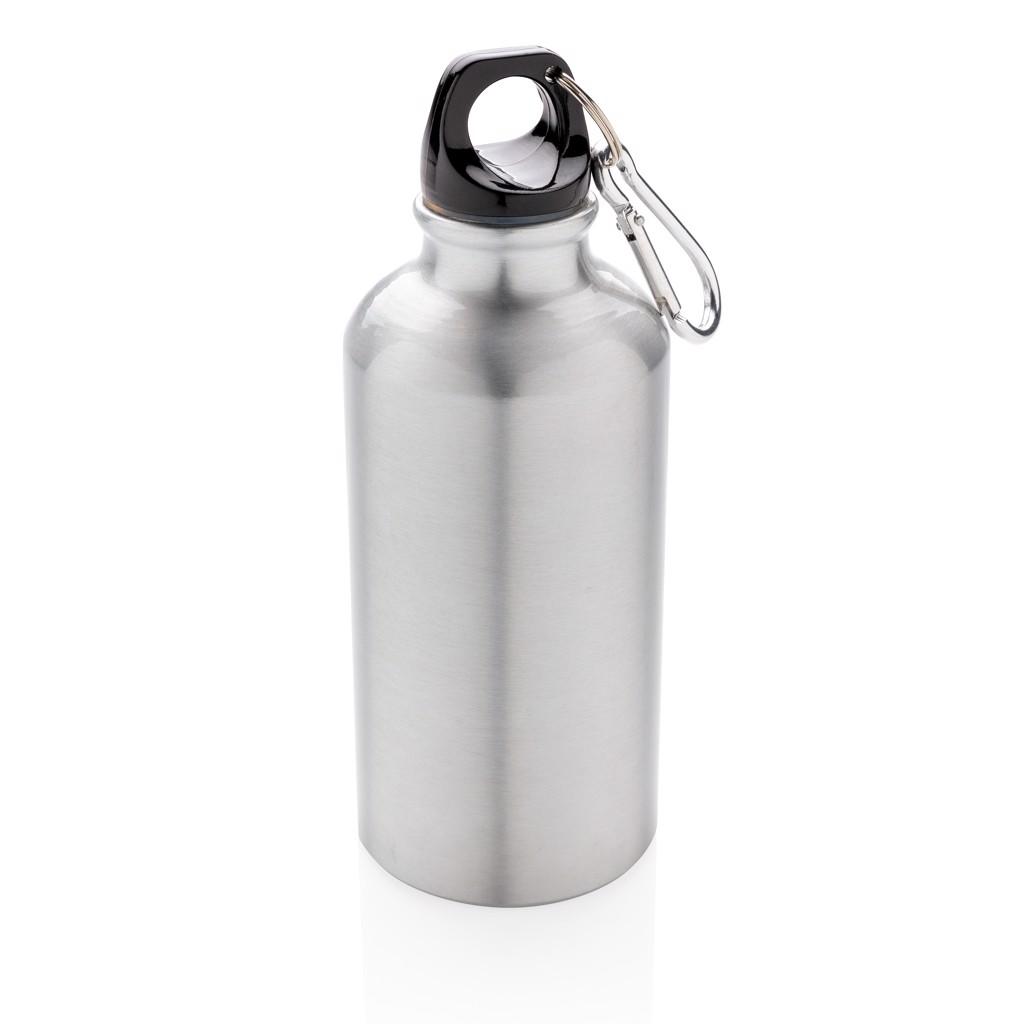 Aluminium reusable sport bottle with carabiner - Silver