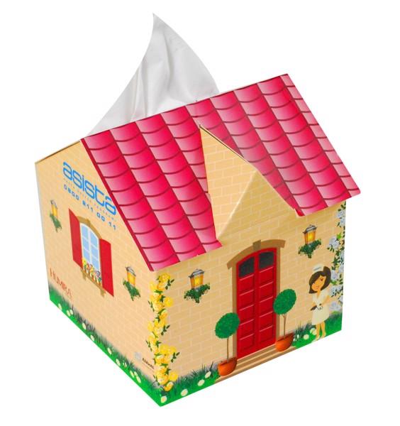Reklamní papírové kapesníčky v krabičce (domeček) s vlastním potiskem 11,5x10,4x10,4 cm