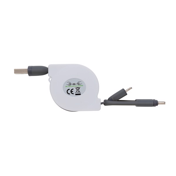 3-in-1 retractable cable - White