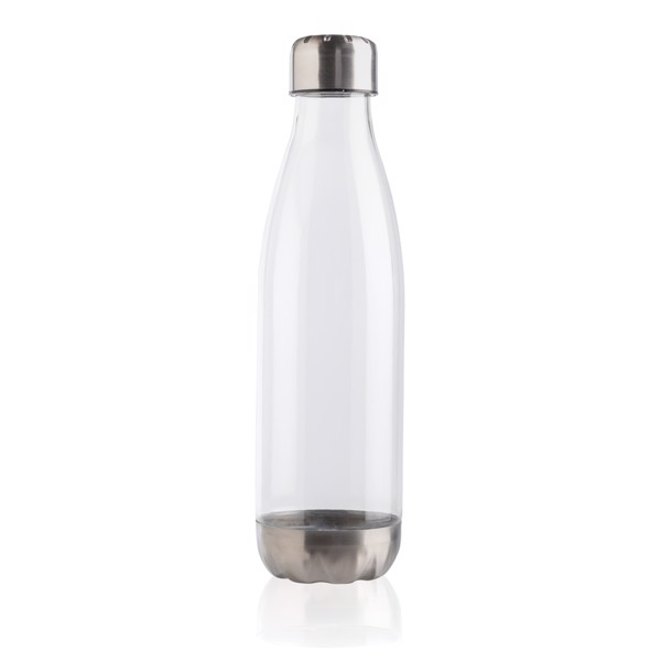 Leakproof water bottle with stainless steel lid - Transparent