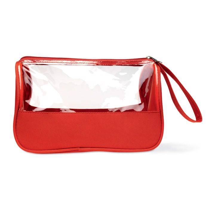 Toiletry bag microfiber w PVC Plas - Red