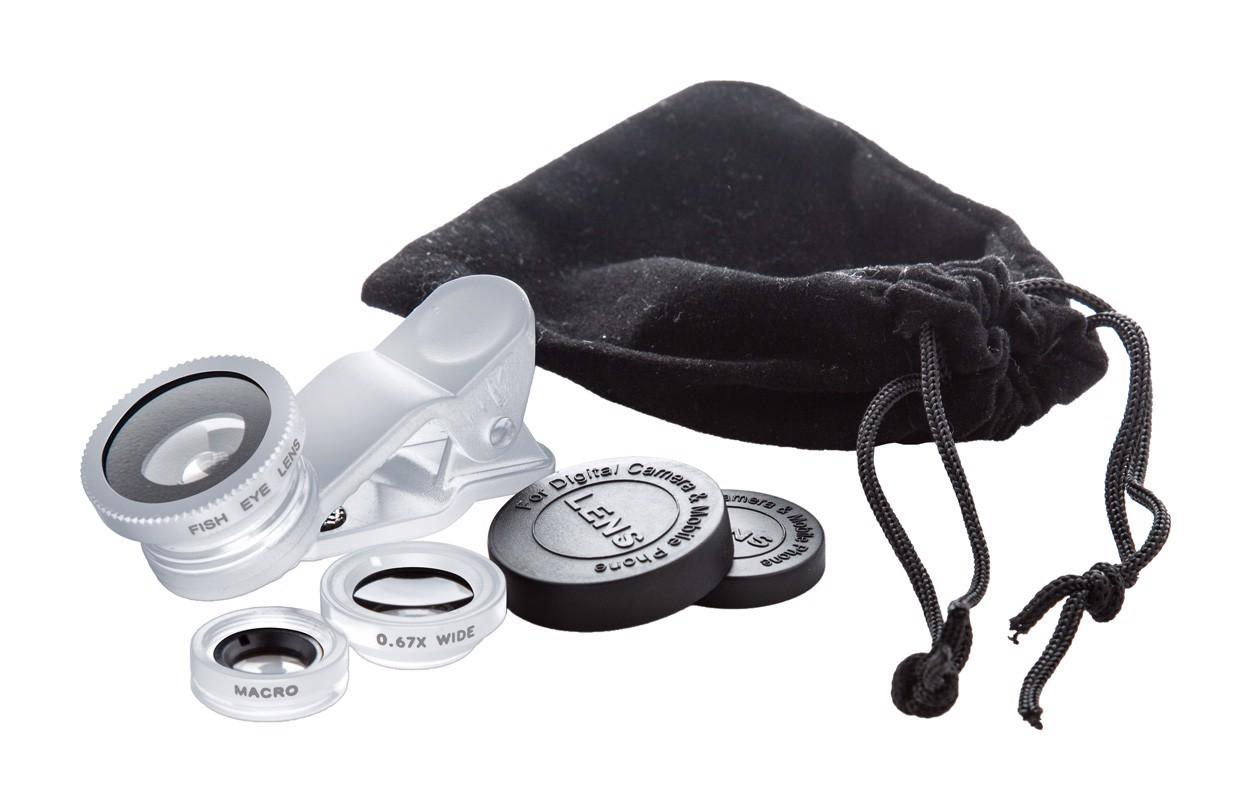 Set Obiective Foto Pentru Telefon Optix - Argintiu / Negru