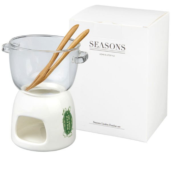 Belgium glass chocolate fondue set