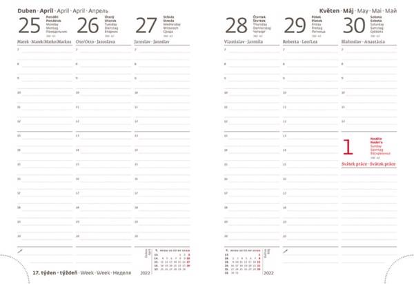 Týdenní diář B6 Flexies mátový s poutkem 2022