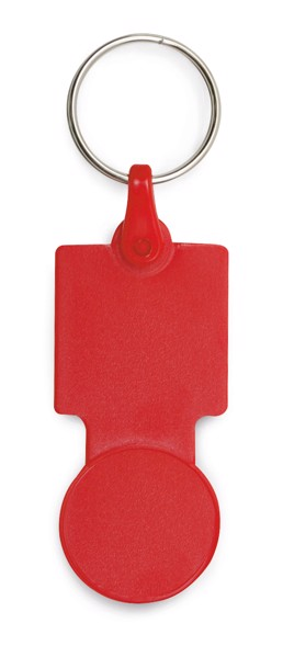SULLIVAN. Coin-shaped keyring for supermarket trolley - Red