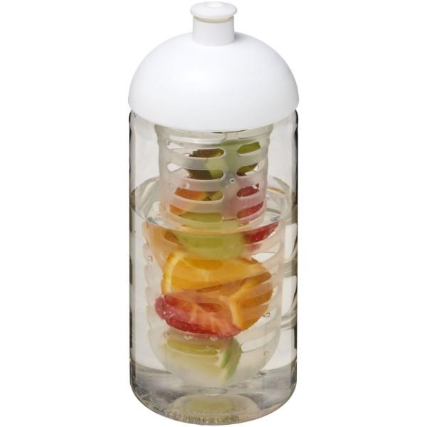 Bidon H2O Bop® o pojemności 500 ml z wypukłym wieczkiem z możliwościąprzyrządzania wody smakowej - Przezroczysty / Biały
