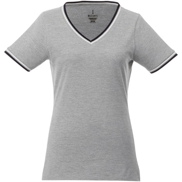 Elbert short sleeve women's pique t-shirt - Grey melange / Navy / White / L