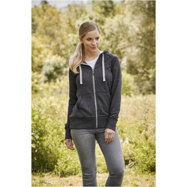 Groundie full zip ladies hoodie - Heather Smoke / M