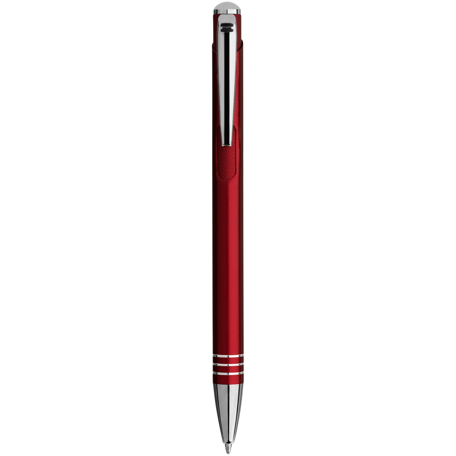Kuličkové pero Izmir s vroubkovaným tlačítkem - Červená s efektem námrazy