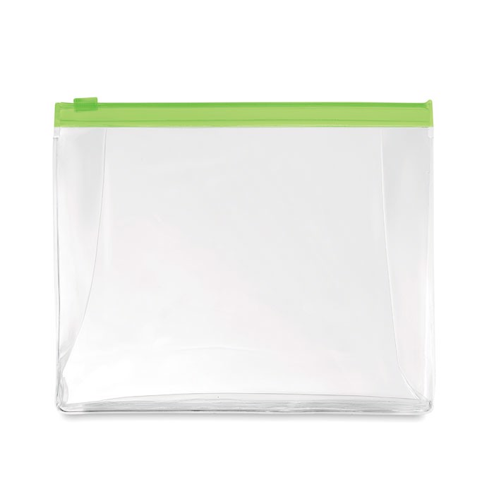 Cosmetic pouch with zipper Cosmobag - Transparent Lime
