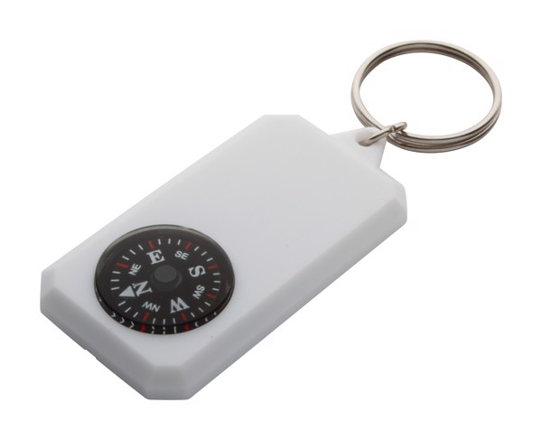 Keyring With Compass Magellan - White
