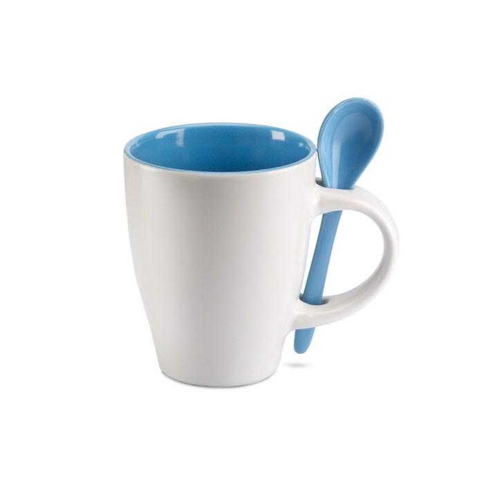 Bicolour mug with spoon 250 ml Dual - Blue