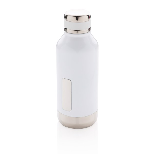 Leak proof vacuum bottle with logo plate - White