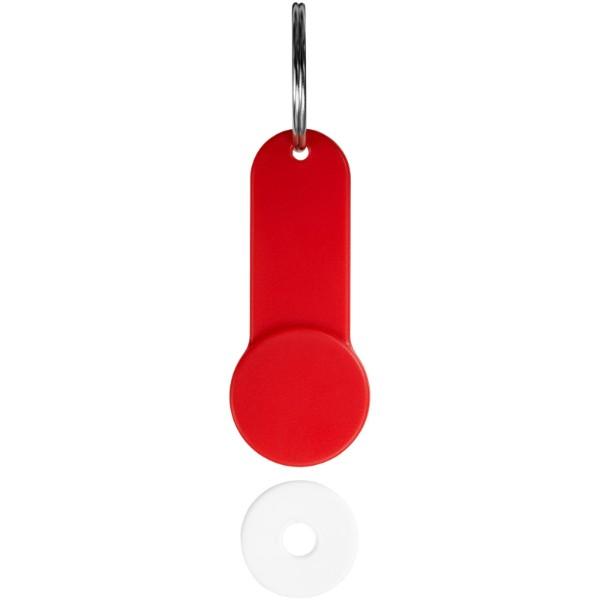 Klíčenkový držák na žeton Shoppy - Červená s efektem námrazy