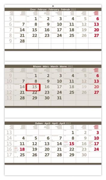 Tříměsíční kalendář Skládaný 2022 - šedý