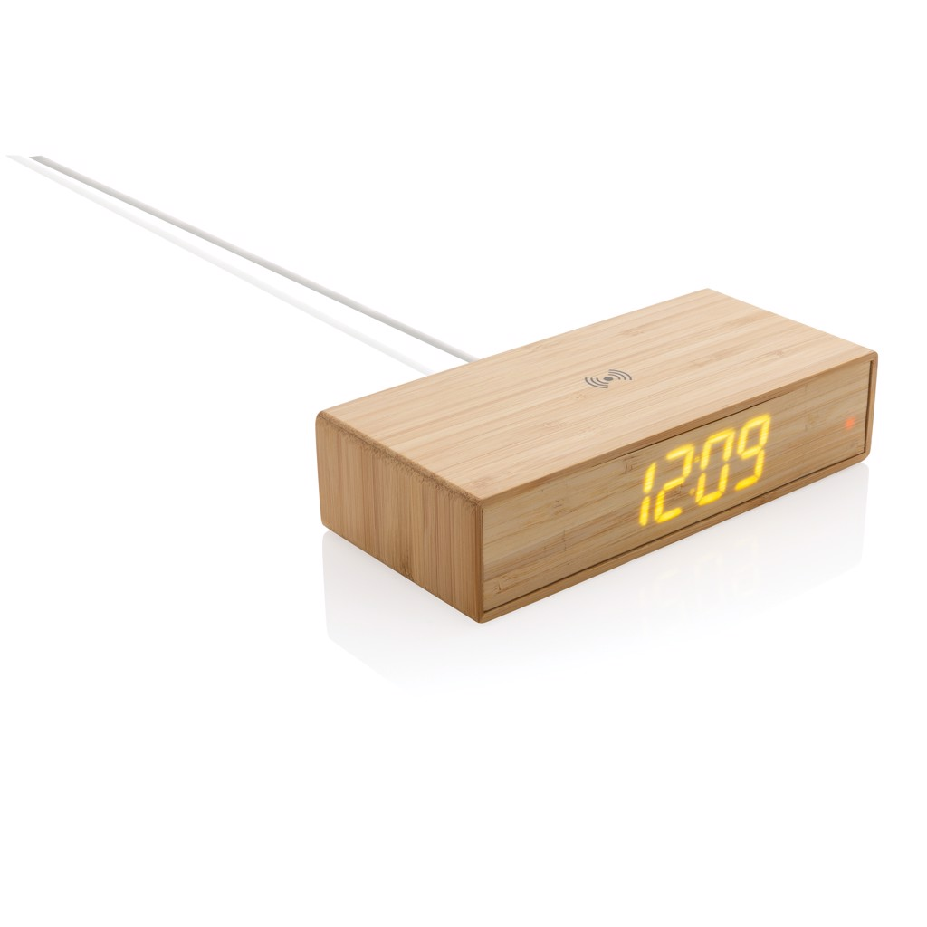 Bambusové digitální hodiny s bezdrátovou nabíječkou 5W