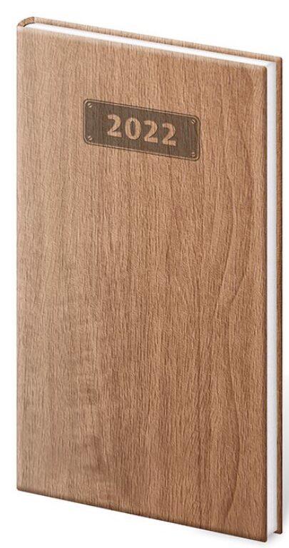 Týdenní kapesní diář Wood 2022, 80x150mm - světle / hnědý