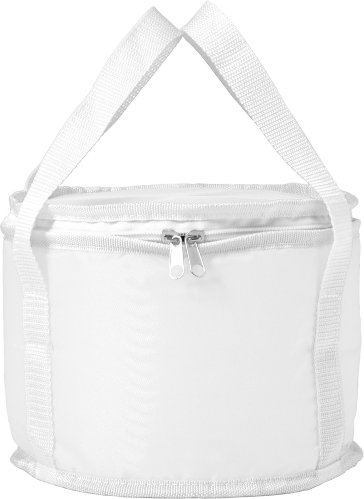 Polyester (210D) round cooler bag - White