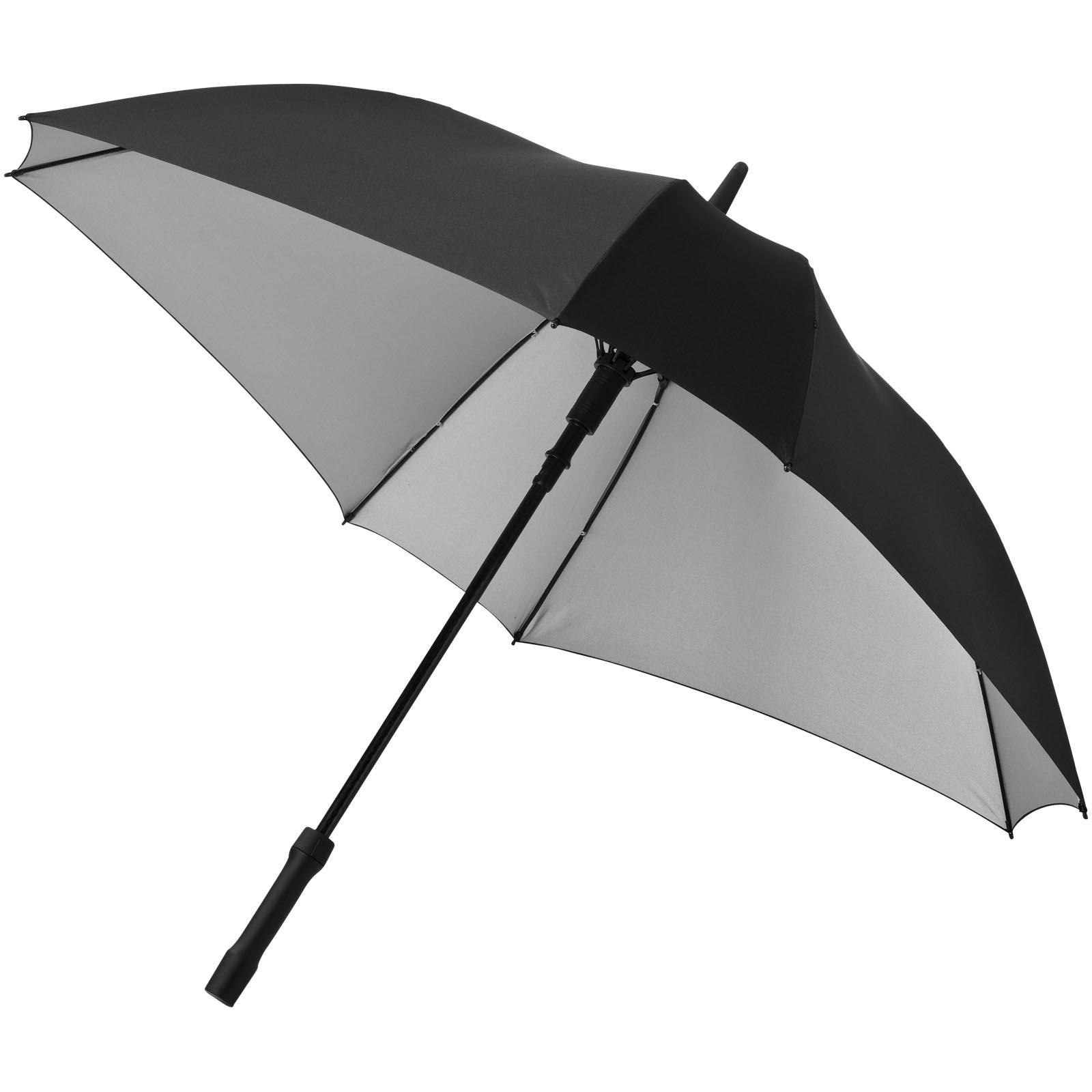 """Square 23"""" double-layered auto open umbrella - Silver / Solid black"""