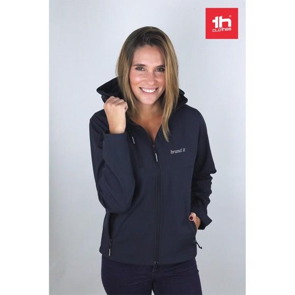 THC ZAGREB WOMEN. Chaqueta softshell para mujer, con capucha removible - Azul Marino / XXL