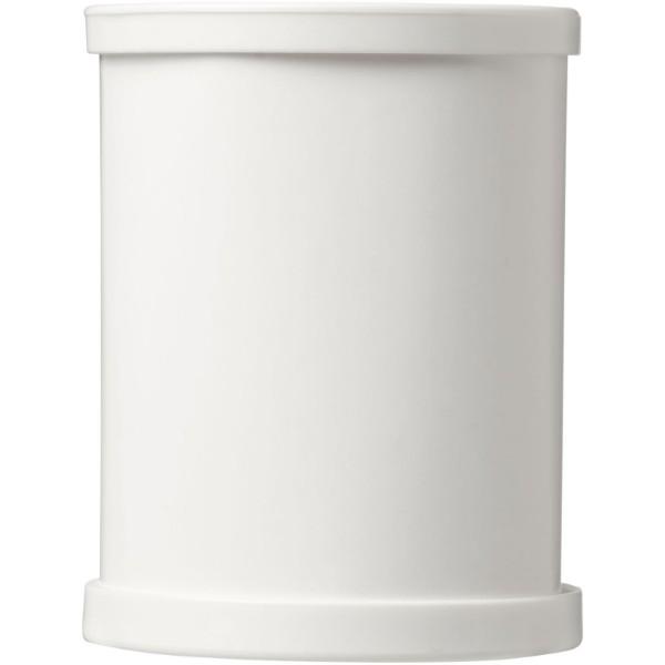 Kulatý kartonový hrnek na pera s plastovou obrubou Deva - Bílá