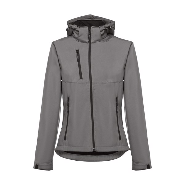 THC ZAGREB WOMEN. Women's softshell with removable hood - Grey / M