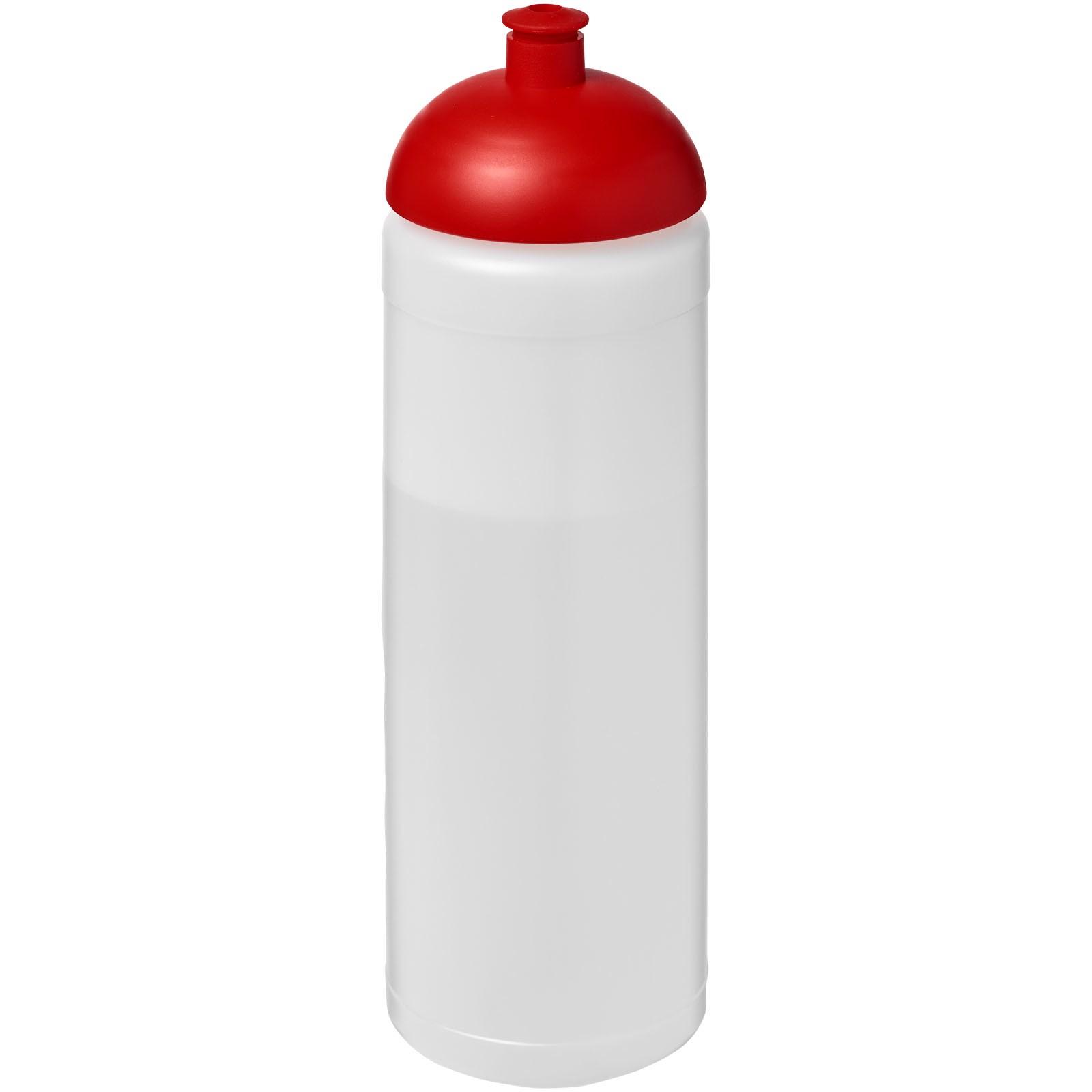 Sportovní láhev s kupolovitým víčkem Baseline® Plus 750 ml - Průhledná / Červená s efektem námrazy