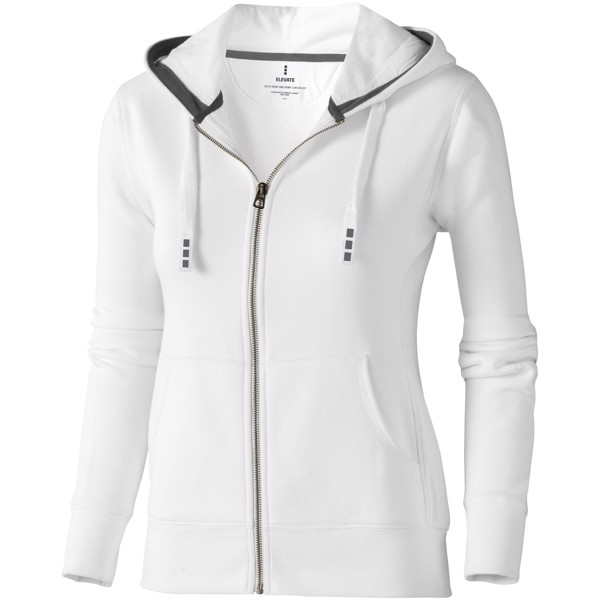Arora hooded full zip ladies sweater - White / XXL