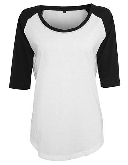 Ladies` 3/4 Contrast Raglan Tee - White / Black / L