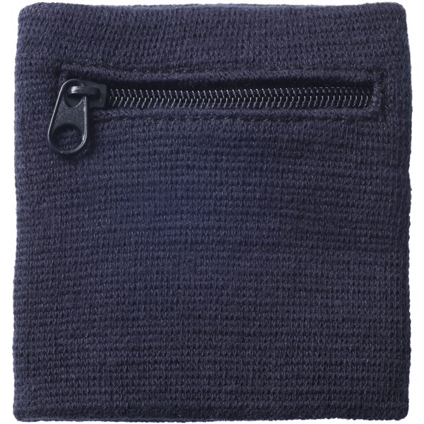 Brisky performance wristband with zippered pocket - Navy