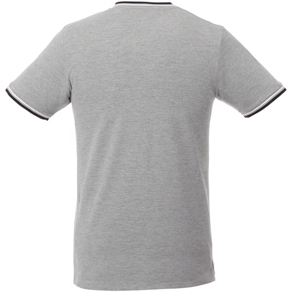 Elbert short sleeve men's pique t-shirt - Grey melange / Navy / White / S