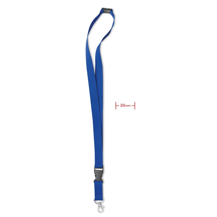 Lanyard with metal hook 20 mm - Royal Blue