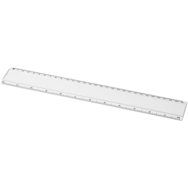 Plastové pravítko Ellison 30 cm s papírovou vložkou - Bílá