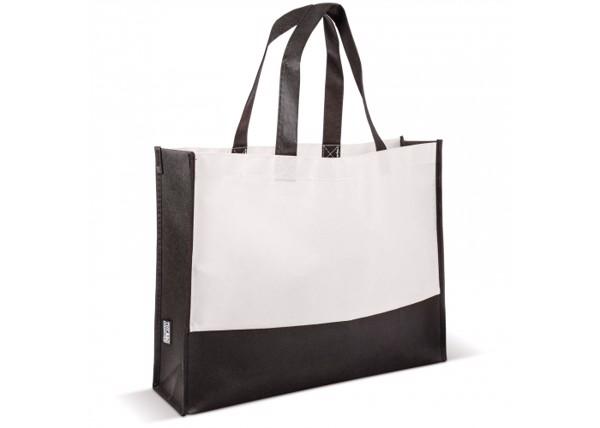 Bag colour block non-woven 75g/m² - Black / White