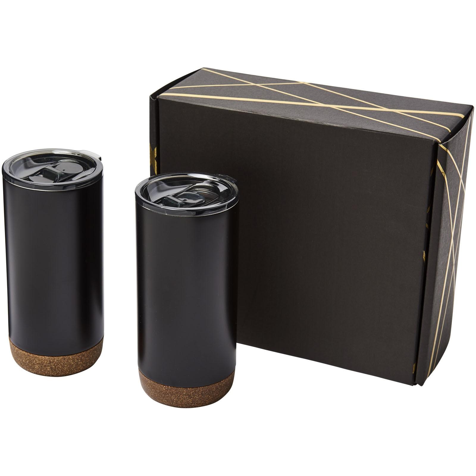 Valhalla tumbler copper vacuum insulated gift set - Solid black