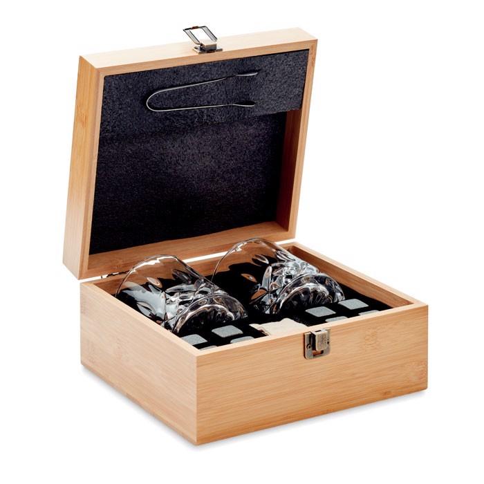 Komplet za viski v bambusovi škatli Inverness