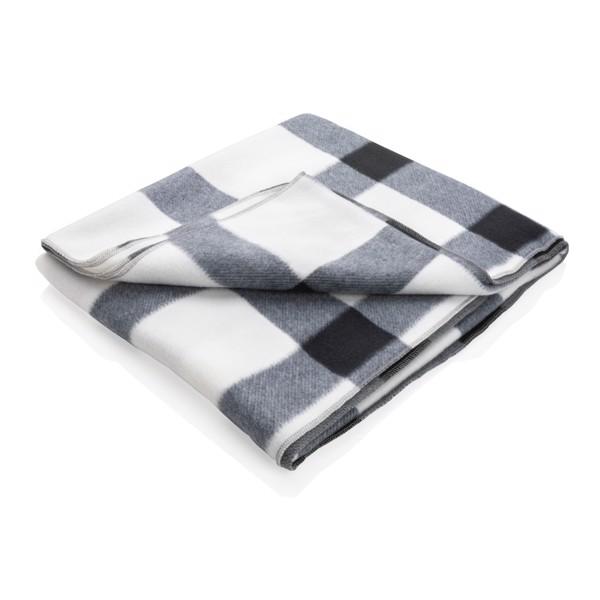 Soft plaid fleece blanket - White