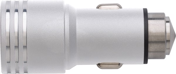 Stainless steel 2-in-1 car adapter - Silver