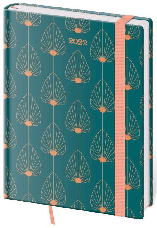 Denní diář B6 Vario Leaves s gumičkou 2022