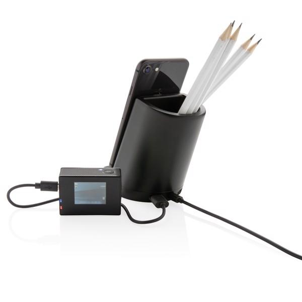 Világító logó asztali tolltartó 5W vezeték nélküli töltéssel