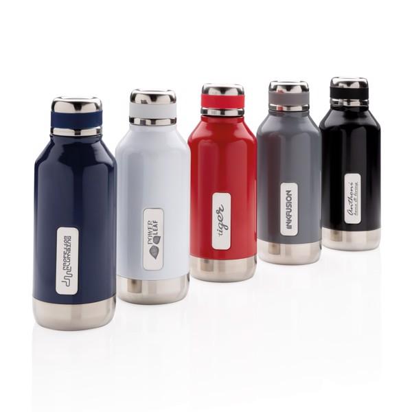 Nepropustná termo láhev s plíškem na logo - Bílá