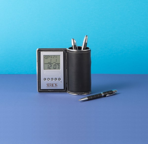 PU desk organiser and clock