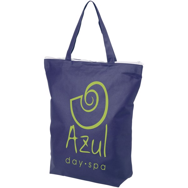 Privy zippered short handle non-woven tote bag - Royal blue
